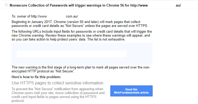 Google Chrome 56 not secure warning