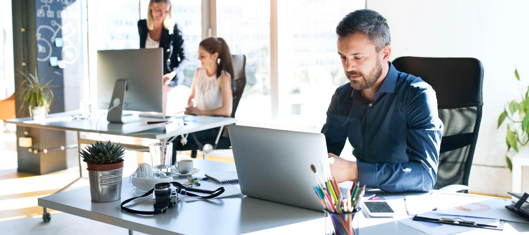 staff working in a digital agency office
